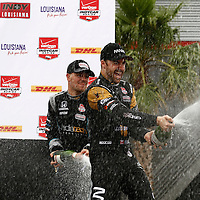 10-12 April, 2015, Avondale, Louisiana USA<br /> James Hinchcliffe and James Jakes celebrate on the podium with champagne <br /> &copy;2015, Phillip Abbott<br /> LAT Photo USA