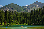 Kayakers, murphy lake, salt river range, alpine, Wyoming