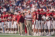 PALO ALTO, CA -  NOVEMBER 7:  Head coach Bill Walsh of Stanford University directs the offense during an NCAA football game against USC played at Stanford Stadium in Palo Alto, California on November 7, 1992. (Photo by David Madison/Getty Images) *** Local Caption *** Bill Walsh