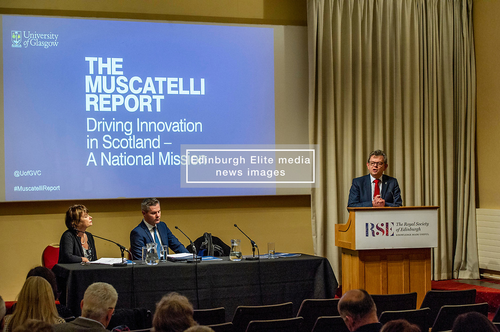 Pictured: Dame Anne Glover, President Royal Society of Edinburgh, Finance Secretary Derek Mackay  and Professor Sir Anton Muscatelli<br />