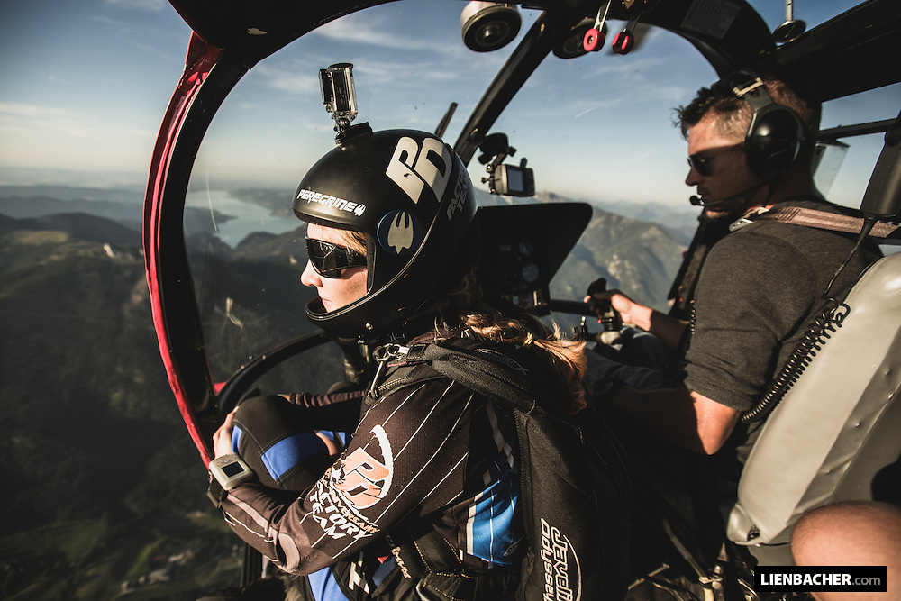 Jessica Edgington (PD Factory Team) enjoys the view over Austria, being piloted by Felix Baumgartner