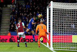 Islam Slimani of Leicester City hits the post with a header - Mandatory by-line: Robbie Stephenson/JMP - 31/12/2016 - FOOTBALL - King Power Stadium - Leicester, England - Leicester City v West Ham United - Premier League