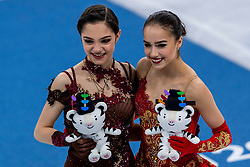 GANGNEUNG, SOUTH KOREA - FEBRUARY 23: Silver medalist Evgenia Medvedeva and gold medalist Alina Zagitova both from Olympic Athlete from Russia during the venue victory ceremony following the Figure Skating Ladies Free program on day fourteen of the PyeongChang 2018 Winter Olympic Games at Gangneung Ice Arena on February 23, 2018 in Gangneung, South Korea. Photo by Ronald Hoogendoorn / Sportida