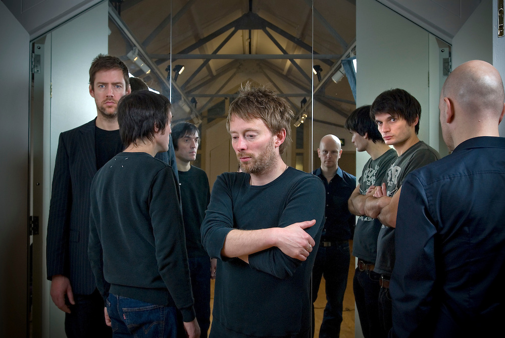 UK. Oxford based band Radiohead photographed in the attic of the Oxford Playhouse theatre..From left to right: Colin Greenwood,  Ed O'Brian, Thom Yorke, Jonny Greenwood and Phil Selway.