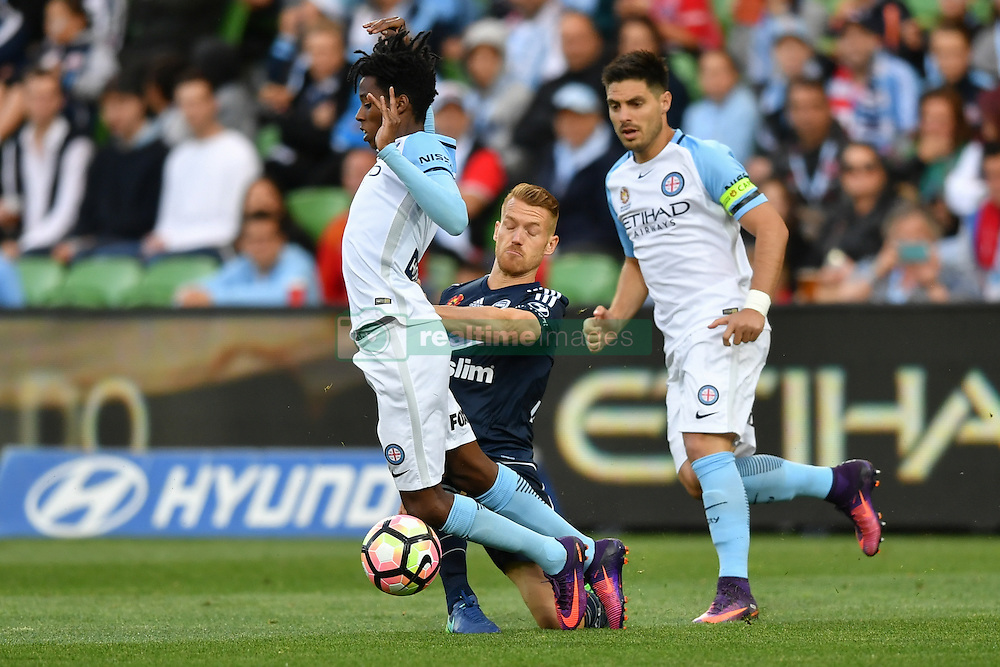 December 17, 2016 - Melbourne, Victoria, Australia - BRUCE KAMAU (11) of Melbourne City is fouled in the round 11 match of the A-League between Melbourne City and Melbourne Victory at AAMI Park, Melbourne, Australia. Victory won 2-1 (Credit Image: © Sydney Low via ZUMA Wire)