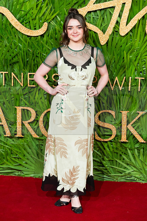 © Licensed to London News Pictures. 04/12/2017. London, UK. MAISIE WILLIAMS arrives for The Fashion Awards 2017 held at the Royal Albert Hall. Photo credit: Ray Tang/LNP