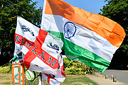 England and India flags on a stall outside Sophia Gardens stadium before the International T20 match between England and India at the SWALEC Stadium, Cardiff, United Kingdom on 6 July 2018. Picture by Graham Hunt.