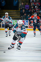 KELOWNA, CANADA - FEBRUARY 18: Tyrell Goulbourne #12 of the Kelowna Rockets skates with the puck against the Kamloops Blazers on February 18, 2015 at Prospera Place in Kelowna, British Columbia, Canada.  (Photo by Marissa Baecker/Shoot the Breeze)  *** Local Caption *** Tyrell Goulbourne;