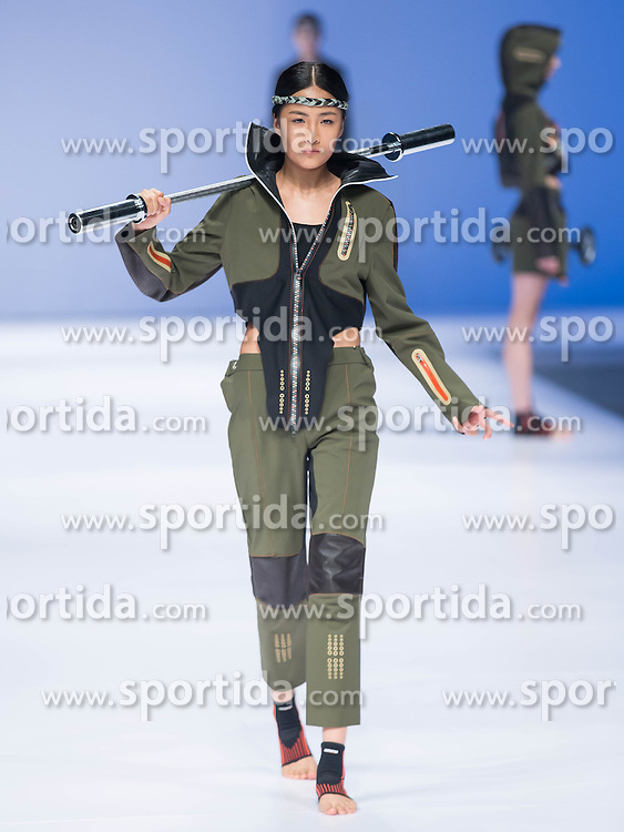 A model presents a creation of sportswear designed by graduates of Beijing Institute of Fashion Technology during a fashion week of the institute in Beijing, capital of China, March 17, 2016. EXPA Pictures &copy; 2016, PhotoCredit: EXPA/ Photoshot/ Li Jianbo<br /> <br /> *****ATTENTION - for AUT, SLO, CRO, SRB, BIH, MAZ, SUI only*****