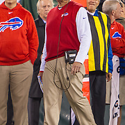 Nov 12, 2015; East Rutherford, NJ, USA;  Buffalo Bills head coach Rex Ryan looks on in the first half at MetLife Stadium. The Bills defeated the Jets 22-17 Mandatory Credit: William Hauser-USA TODAY Sports