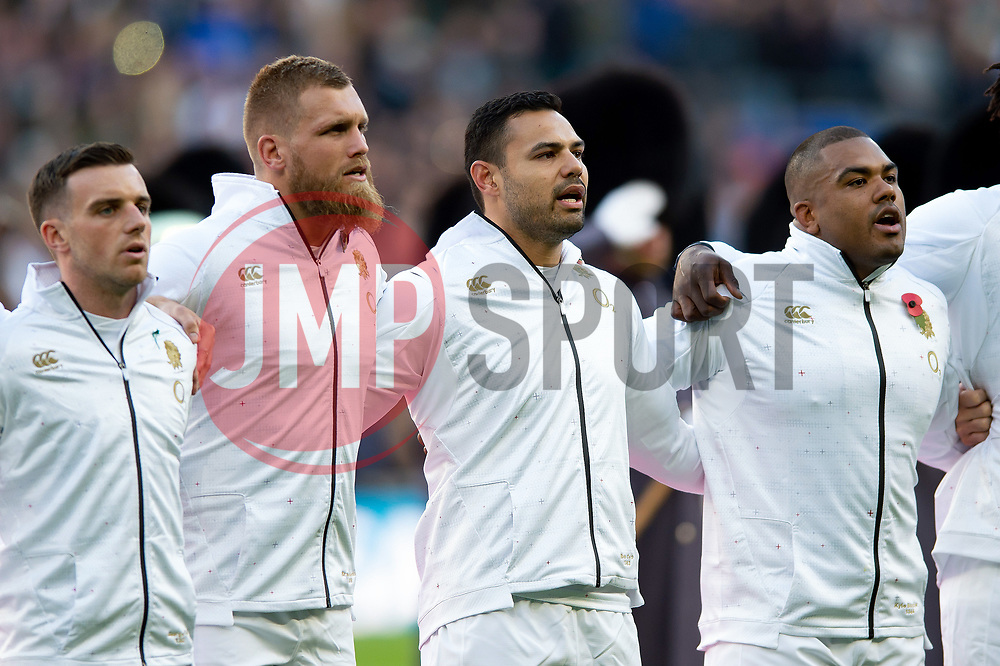 Ben Te'o of England sings the national anthem, flanked by team-mates Brad Shields and Kyle Sinckler - Mandatory byline: Patrick Khachfe/JMP - 07966 386802 - 03/11/2018 - RUGBY UNION - Twickenham Stadium - London, England - England v South Africa - Quilter International