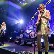 WASHINGTON, DC - February 24, 2015 - Carrie Brownstein and Corin Tucker of Sleater-Kinney perform during the first of two sold-out shows at the 9:30 Club in Washington, D.C. The band, on hiatus since 2006, reunited late in 2014 and recently released No Cities to Love, their first album in almost 10 years. (Photo by Kyle Gustafson / For The Washington Post)