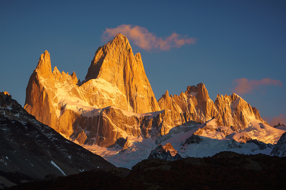 Alpinglow on the Fitz Roy Massif, Los Glaciares National Park, Argentina