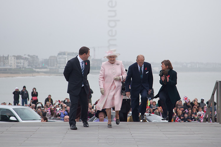 © London News Pictures. 11/11/11. Her Majesty The Queen accompanied by His Royal Highness The Duke of Edinburgh climb the steps of the Turner Contemporary Art Gallery in Margate, Kent. During their visit they met with the artist Tracey Emin in the Sunley Gallery along with the architect Sir David Chipperfield. The Turner Contemporary is on way to becoming one of the biggest tourist attractions in the South East since its opening only seven months ago. This is the first time since 1993 that Her Majesty has visited Margate. Photo credit should read Manu Palomeque/LNP