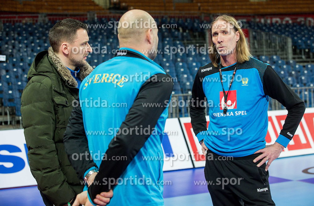 Ola Lindgren and Staffan Olsson, coaches  during practice session of Team Sweden on Day 1 of Men's EHF EURO 2016, on January 15, 2016 in Centennial Hall, Wroclaw, Poland. Photo by Vid Ponikvar / Sportida