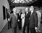 19/08/1988<br /> 08/19/1988<br /> 19 August 1988<br /> Opening of ROSC '88 at the Guinness Hop Store, Dublin. President Patrick Hillery who officially opened the exhibition listens intently as Patrick Murphy, ROSC Chairman, explains an exhibit, with Harry Byrne (right)  Financial Director, Guinness Ireland.