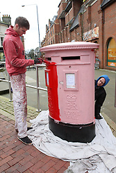 © Licenced to London News Pictures.  09/01/2014.  London UK  Pink post boxes appearing across the UK as the Royal Mail repaint them to freshen them up. The pink is the undercoat then finished in Royal mail branded red.  Taken in Royal Tunbridge Wells Kent on 09/01/2014    <br /> Photo Credit: Presspics/LNP
