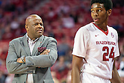 FAYETTEVILLE, AR - NOVEMBER 13:  Head Coach Mike Anderson watches Jimmy Whitt #24 of the Arkansas Razorbacks walk to the bench during a game against the Southern University Jaguars at Bud Walton Arena on November 13, 2015 in Fayetteville, Arkansas.  The Razorbacks defeated the Jaguars 86-68.  (Photo by Wesley Hitt/Getty Images) *** Local Caption *** Mike Anderson; Jimmy Whitt