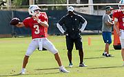 Miami Dolphins quarterback Josh Rosen (3) passes the ball during Minicamp at the Baptist Health Training Facility at Nova Southeastern University, Tuesday, August 6, 2019, in Davie, Fla. (Kim Hukari/Image of Sport)