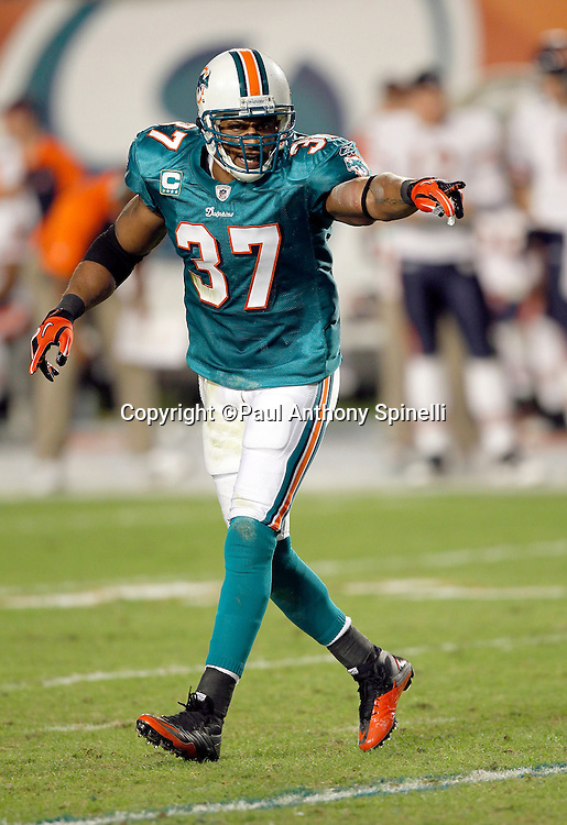 Miami Dolphins safety Yeremiah Bell (37) points during the NFL week 11 football game against the Chicago Bears on Thursday, November 18, 2010 in Miami Gardens, Florida. The Bears won the game 16-0. (©Paul Anthony Spinelli)