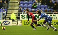 Photo: Paul Greenwood/Sportsbeat Images.<br />Wigan Athletic v Blackburn Rovers. The FA Barclays Premiership. 15/12/2007.<br />Blackburn's Morten Gamst Pedersen (L) takes the ball away from Wigan's Antonio Valencia