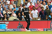 Six runs - Trent Boult of New Zealand treads on the boundary rope as he catches the ball misses the chance to dismiss Ben Stokes of England and gives away six runs during the ICC Cricket World Cup 2019 Final match between New Zealand and England at Lord's Cricket Ground, St John's Wood, United Kingdom on 14 July 2019.