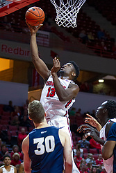 NORMAL, IL - November 29: Rey Idowu during a college basketball game between the ISU Redbirds and the Prairie Stars of University of Illinois Springfield (UIS) on November 29 2019 at Redbird Arena in Normal, IL. (Photo by Alan Look)