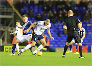 Stephen Gleeson, Darren Pratley during the Sky Bet Championship match between Birmingham City and Bolton Wanderers at St Andrews, Birmingham, England on 23 February 2016. Photo by Daniel Youngs.
