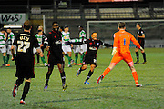 Carlisle players celebrate after beating Yeovil in a penalty shoot-out during the The FA Cup Third Round Replay match between Yeovil Town and Carlisle United at Huish Park, Yeovil, England on 19 January 2016. Photo by Graham Hunt.
