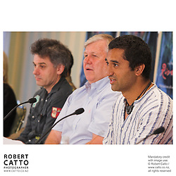 Director Vincent Ward, producer Don Reynolds, and actor Cliff Curtis answer questions at the press conference before the premiere of the film River Queen in Wanganui, New Zealand.<br />