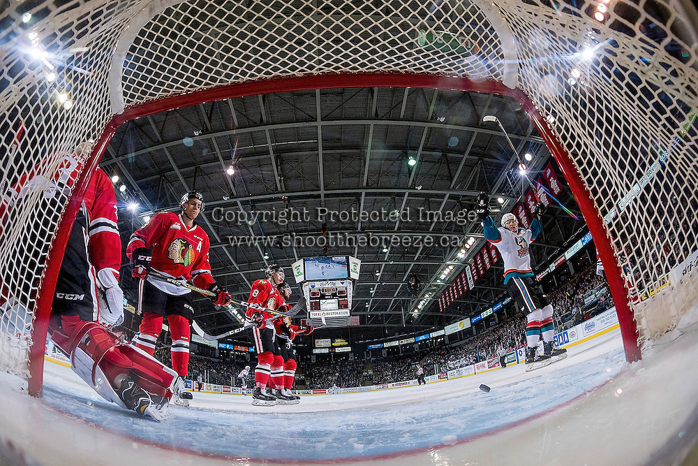 KELOWNA, CANADA - JANUARY 21: Tomas Soustal #15 of the Kelowna Rockets celebrates a goal against the Portland Winterhawks on January 21, 2017 at Prospera Place in Kelowna, British Columbia, Canada.  (Photo by Marissa Baecker/Shoot the Breeze)  *** Local Caption ***