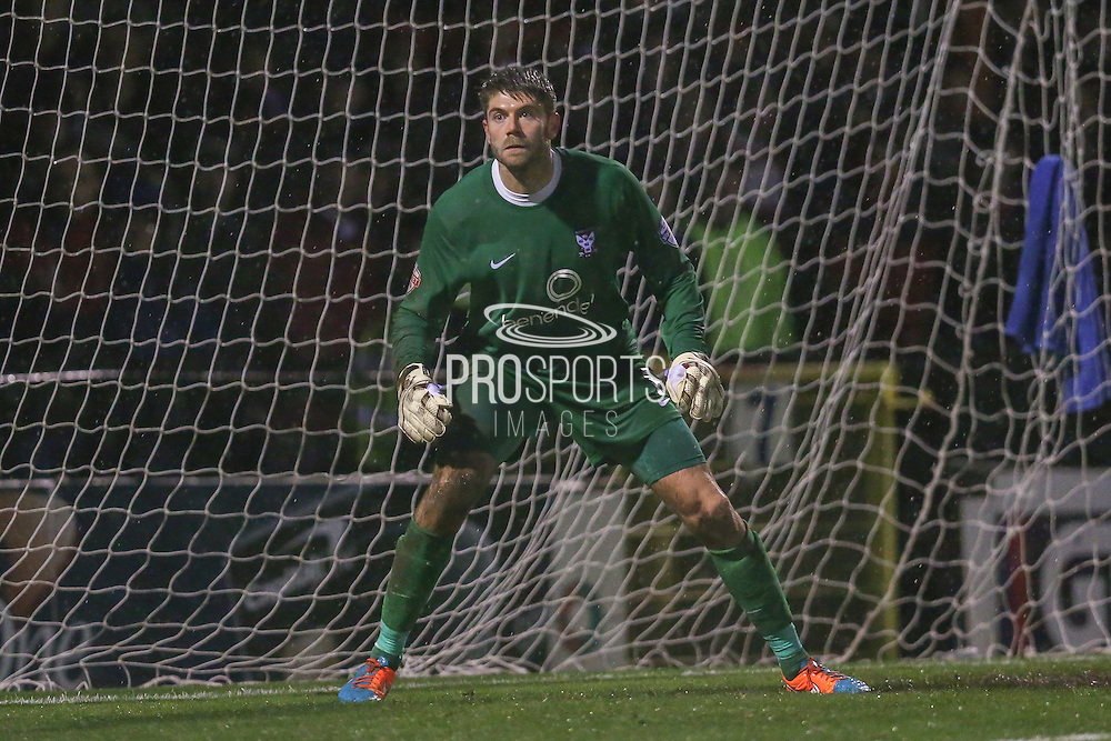 York City goalkeeper Scott Flinders  during the Sky Bet League 2 match between York City and Accrington Stanley at Bootham Crescent, York, England on 28 November 2015. Photo by Simon Davies.