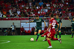 September 20, 2018 - Piraeus, Attiki, Greece - Javi Garcia (no 3) of Real Betis, stops the attack of players of Olympiacos. (Credit Image: © Dimitrios Karvountzis/Pacific Press via ZUMA Wire)