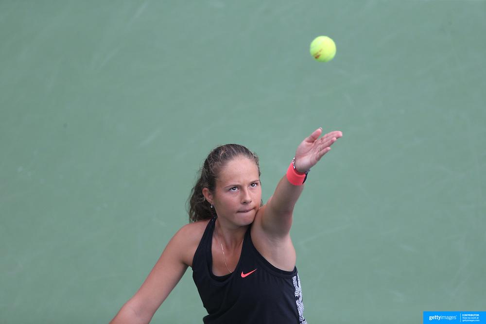 Daria Kasatkina, Russia, in action against Kristina Mladenovic, France, during the US Open Tennis Tournament, Flushing, New York, USA. 4th September 2015. Photo Tim Clayton
