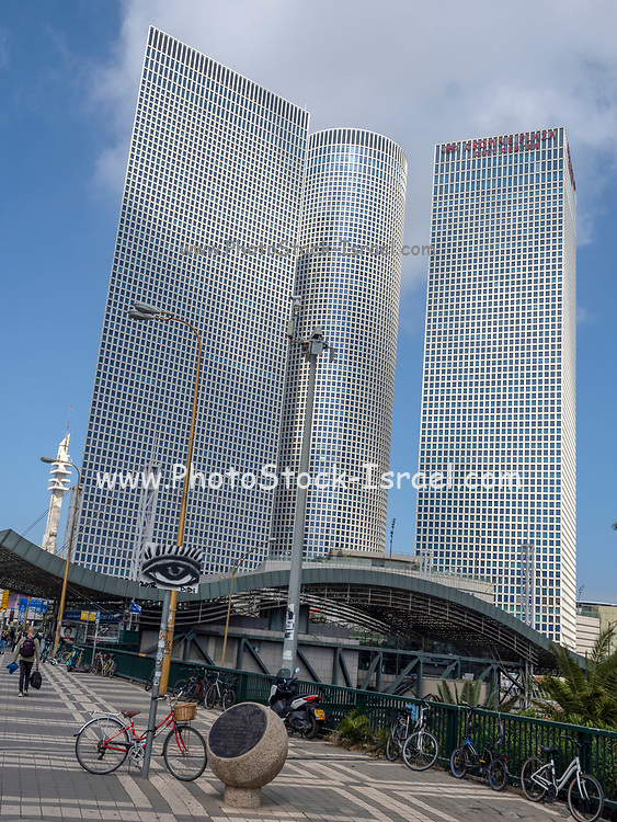 Azrieli towers. Modern, glass faced High rise buildings in Tel Aviv, Israel