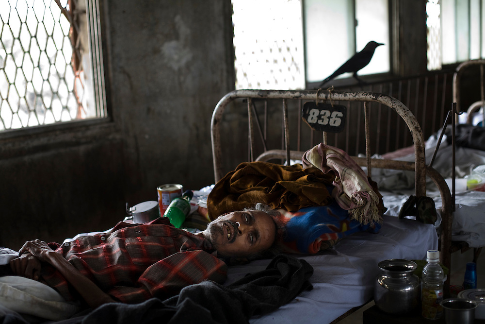 A patient at the Group of TB Hospitals in Mumbai lays on his bed as a crow sits perched next to him.  Later that day the patient was moved to a different bed where he could receive oxygen.  He died early the next morning.