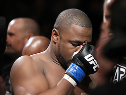 May 29, 2010; Las Vegas, NV; USA;  Quinton Jackson (trunks) and Rashad Evans (trunks) fight during their bout at UFC 114 at the MGM Grand Garden Arena in Las Vegas.
