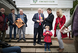 © Licensed to London News Pictures. 28/04/2017. London, UK. Vince Cable (C) prepares to launch his election campaign with supporters on Twickenham Green in a bid to return to Parliament.  Photo credit: Peter Macdiarmid/LNP