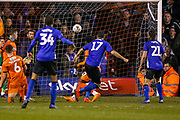 Goal 0-1 Sheffield Wednesday forward Atdhe Nuhiu (17) scores a goal during the The FA Cup 3rd round replay match between Luton Town and Sheffield Wednesday at Kenilworth Road, Luton, England on 15 January 2019.