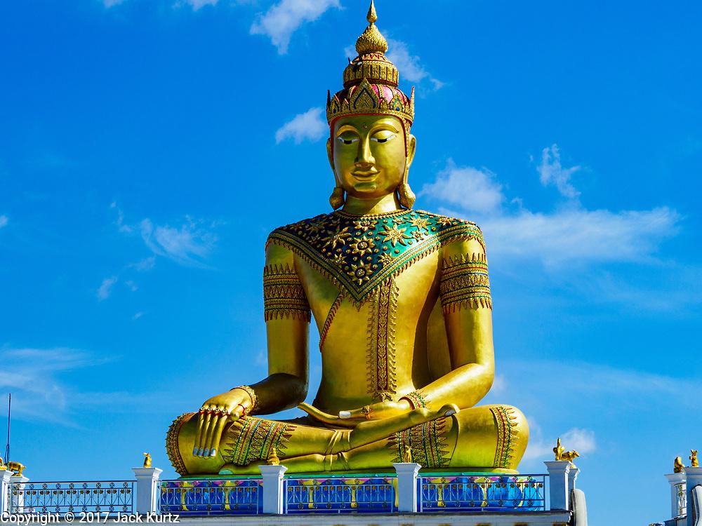 02 JUNE 2017 - SAMUT SAKHON, THAILAND: A large statue of the Buddha at Wat Suwannaram in Samut Sakhon.       PHOTO BY JACK KURTZ