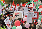 "35559258© Licensed to London News Pictures. 29/10/2011. London, UK.  Amnesty International join Syrians in the UK for a ""N0 More Blood - No More Fear"" march and rally in Paddington Green, London, today 29th October 2011. Activists claim  Syrian security forces opened fire on Friday on protesters and hunted them down in house-to-house raids, killing about 40 people in the deadliest day in weeks in the country's 7-month-old uprising. Photo: Stephen Simpson/LNP"