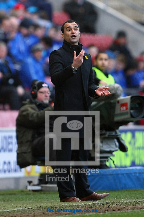 Picture by Paul Chesterton/Focus Images Ltd +44 7904 640267.30/03/2013.Wigan Athletic Manager Roberto Martinez during the Barclays Premier League match at the DW Stadium, Wigan.