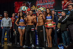 "NEW YORK, NY - OCT 16 Boxing superstar, WBA, IBO and WBC ""Interim"" Middelweight Champion Gennady ""GGG"" Golovkin 33-0 (30 KOs) stopped the scale at 159.4 lbs and contenter IBF Middleweight Champion David Lemieux 34-2 (31 KOs) stopped the scale at 159.8 lbs at the official weigh in for their bout saturday at Madison Square Garden on 16 October, 2015 in New York, NY USA. Byline, credit, TV usage, web usage or linkback must read SILVEXPHOTO.COM. Failure to byline correctly will incur double the agreed fee. Tel: +1 714 504 6870."