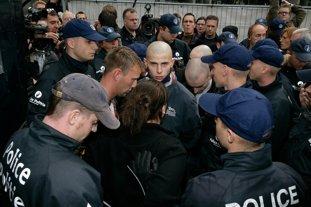 BRUSSELS - BELGIUM - 11 SEPTEMBER 2007 -- STOP ISLAMISATION OF EUROPE demonstration in Brussels Organized by the Danish organisation SIOE.-- Skinheads being arrested by police at Place Luxembourg.  Photo: Erik Luntang  --DENMARK OUT--