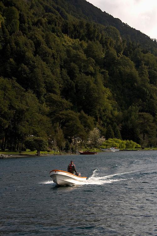 Man boating on Lake Todos los Santos, Chile