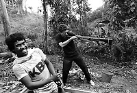 Owen Franken with the NPA, the National People's Army, the rebel group in the mountain jungle in northern Luzon Province, the Philippines