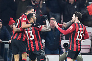 Goal - Callum Wilson (13) of AFC Bournemouth celebrates after he scores a goal to give a 3-0 lead during the Premier League match between Bournemouth and Brighton and Hove Albion at the Vitality Stadium, Bournemouth, England on 21 January 2020.
