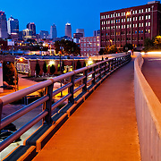 Traffic motion blur on West Pennway in downtown Kansas City, MO at dusk near downtown.