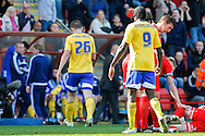 James Tarkowski of Brentford is shown the Red Card during the Sky Bet League 1 match at the Matchroom Stadium, London<br /> Picture by Mark D Fuller/Focus Images Ltd +44 7774 216216<br /> 15/03/2014