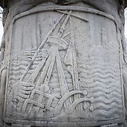A depiction of the sinking of the Maine that is on the back of the Cuban-American Friendship Urn in Washington DC. Located in East Potomac Park in Washington DC, the Cuban American Friendship Urn is a 7-ton white marble urn carved from one of the columns that was originally part of the Maine Monument in Havana, Cuba, that memorialized the sinking of the Maine, an event that helped spark the Spanish American War and led to the independence of Cuba from Spain.